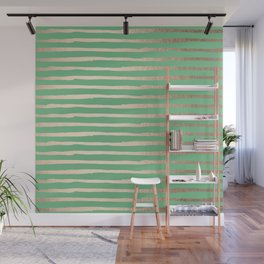 Abstract Stripes Gold Tropical Green Wall Mural