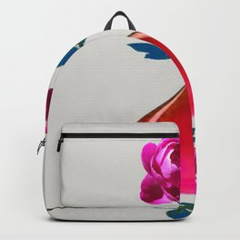 DECORATIVE FUCHSIA PEONY IN TEARDROP VASE Backpack