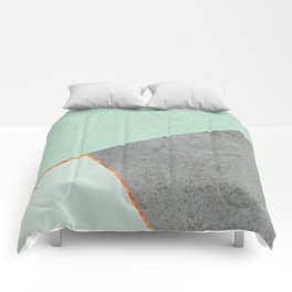 MINT COPPER GRAY GEOMETRIC PATTERN Comforters