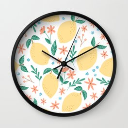 Summer Lemons with Pink Blossoms Wall Clock