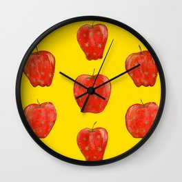 Red Remarkable Apple Pattern Wall Clock