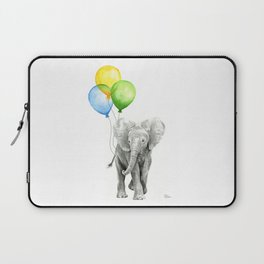 Elephant Watercolor Baby Animal with Balloons Blue Yellow Green Laptop Sleeve