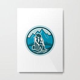 Gold Prospector Miner Panning Circle Retro Metal Print
