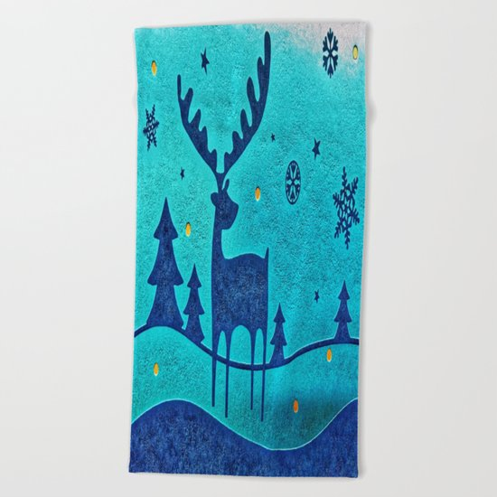 Capri Winter Reindeer Beach Towel