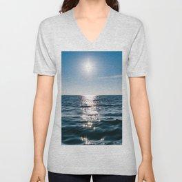 Sea Blue Sky sun Unisex V-Neck