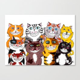 Happy Smiling Cats Canvas Print