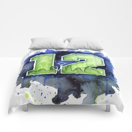 12th Man Seahawks Seattle Go Hawks Art Comforters