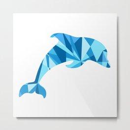 Dolphin artistic marine life illustration Metal Print