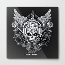 Skull on fire Metal Print
