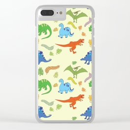 Dinosaur Pattern Clear iPhone Case