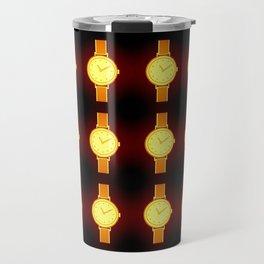 Luminous Wristwatches on Black Illustration Travel Mug