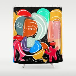 Love your family expressionist cubist street art Shower Curtain