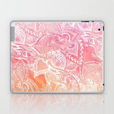 Modern pink coral ombre unset watercolor floral white boho hand drawn pattern Laptop & iPad Skin