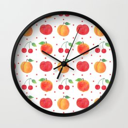 Summer orange red watercolor fruit polka dots pattern Wall Clock