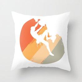 Rock Climbing Mountain Climber Vintage Color Throw Pillow