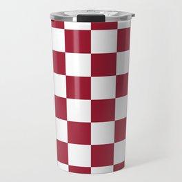 Crimson Red Checkered Pattern Travel Mug
