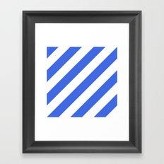Royal blue diagonal striped pattern Framed Art Print