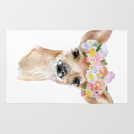 Deer Fawn Floral Watercolor Rug