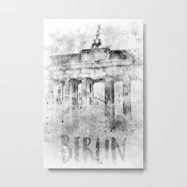 Monochrome Art BERLIN Brandenburg Gate   Watercolor Metal Print