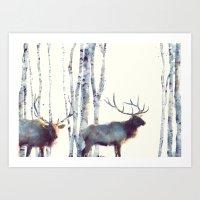 elk Art Prints featuring Elk // Follow by Amy Hamilton