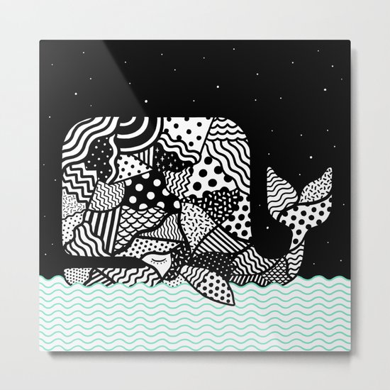 Patchwork Whale Metal Print
