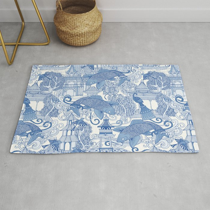 Chinoiserie Toile Blue Rug By