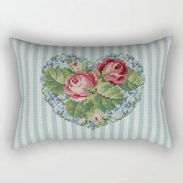Knitted vintage roses heart in tapestry syle Rectangular Pillow