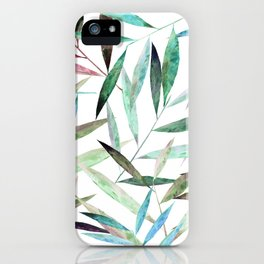 Watercolor Bamboo Leaves iPhone Case