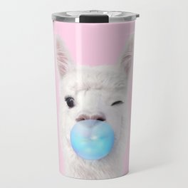 BUBBLE GUM LLAMA Travel Mug