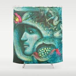 BLUE FACE Shower Curtain
