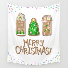 Merry Christmas Poster with Gingerbread Houses and Fir Tree Wall Tapestry