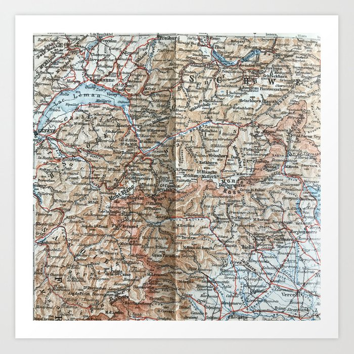 Map Of France Italy Switzerland.Where Italy France Switzerland Meet 1900 Map Art Print By