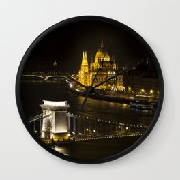 Budapest At Night Wall Clock