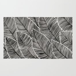 Tropical Palm Leaves – Black Palette Rug