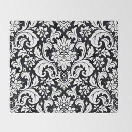 Damask Paisley Black and White Paisley Pattern Vintage Throw Blanket