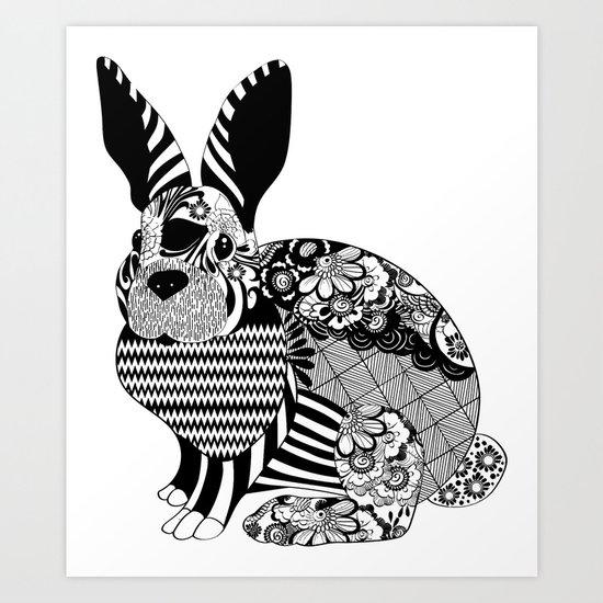 Rabbit floral Art Print