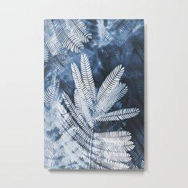 Indigo Leaves Metal Print