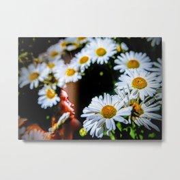 Unicorn Among the Flowers Metal Print