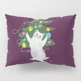 Cuttie Cat having fun with a ball of thread near Xmas Tree Pillow Sham