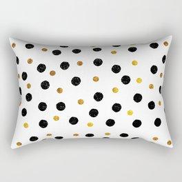 Black & Gold Glitter Confetti on white background- Elegant pattern Rectangular Pillow