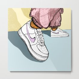 Light Pastel Illustrated Shoes - don't go stompin' Metal Print