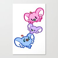 bisexual Canvas Prints featuring Secret Undercover Bisexual Koaloids by Arinko