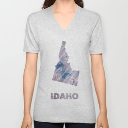 Idaho map outline Dark gray stained watercolor pattern Unisex V-Neck