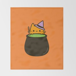 Cat bat with cauldron Throw Blanket