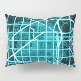 Lubbock, TX, USA, Blue, White, Neon, Glow, City, Map Pillow Sham