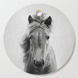 Wild Horse - Black & White Cutting Board