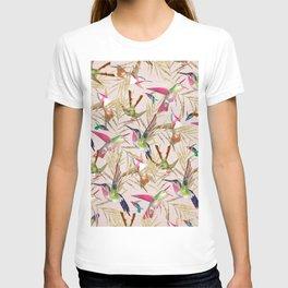 Colorful pink green hummingbird faux gold floral T-shirt