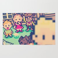 earthbound Area & Throw Rugs featuring Mother 3 Selfie by Dean Bottino