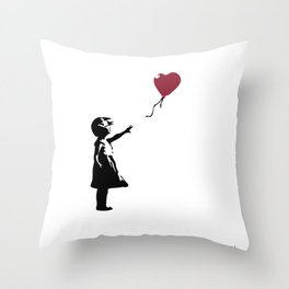 Girl With Red Balloon, Banksy, Streetart Street Art, Grafitti, Artwork, Design For Men, Women, Kids Throw Pillow