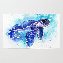 Blue Hawaiian Sea Turtle, Turquoise Blue Cute Animal Sea world Art Rug
